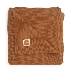 Wiegdeken basic knit caramel