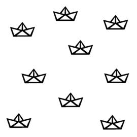 Muursticker origami bootje zwart