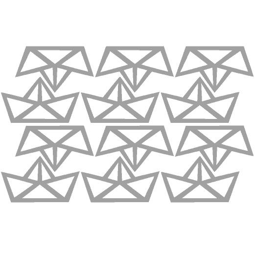 Muursticker origami bootje grijs