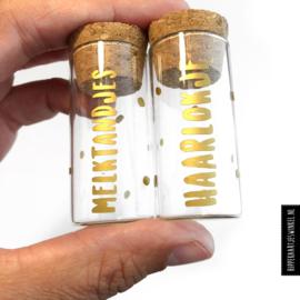 Haarlokje en melktandjes buisjes - goud