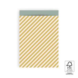 KADOZAKJE - strepen geel 17*25cm(5 stuks)