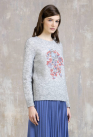 IVKO Woman - Embroidered Pullover Floral Motifs Grey