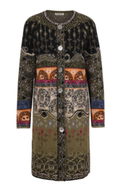 IVKO Woman - Straight Coat Jacquard Pattern Black - Pre-Collectie 2020