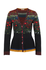 IVKO Pleated V-Neck Cardigan Black