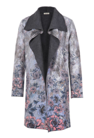 IVKO Printed Coat Floral Pattern Anthracite