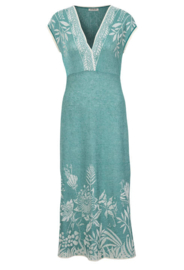 IVKO Brocade Long Dress Aqua