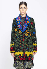 IVKO V-Neck Coat Floral Pattern Black