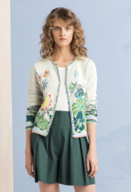 IVKO Jacquard Cardigan Embroidery Off-White