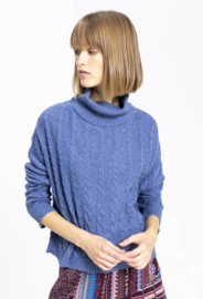 IVKO Roll-Neck Pullover Structure Pattern Stone Blue