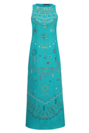 IVKO Woman - Linen Dress with Embroidery Blue