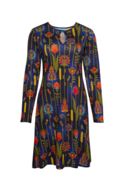 LaLamour Flared Dress High Neck Folky Blue