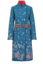 Boiled Wool Coat with Embroidery Petrol