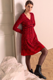 IVKO Woman - V-Neck Dress Structure Pattern Red