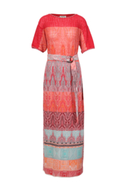 Loose Stitch Long Dress Red
