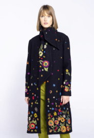 IVKO Boiled Wool Coat with Embroidery Black