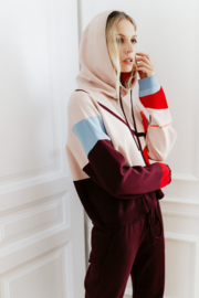 IVKO Woman - Intarsia Pullover with Hoody Rosewood