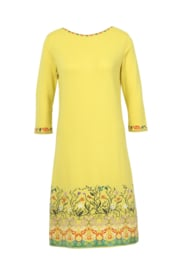 IVKO V-neck Dress Intarsia Yellow
