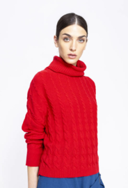 IVKO Roll-Neck Pullover Structure Pattern Red