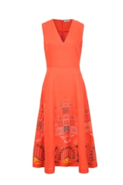 IVKO Embroidery Dress Red Orange