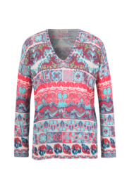 IVKO Woman - V-Neck Pullover with Print Off-White