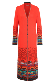 IVKO Woman - Coat Intarsia Pattern Red Orange