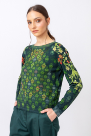 IVKO Woman - Printed Pullover Green Grasset Floral Pattern Green