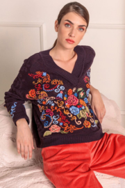 IVKO Woman - V-Neck Pullover Floral Embroidery Russet
