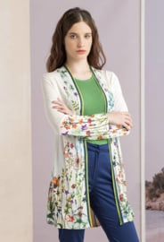 IVKO Woman - Floral Long Cardigan White