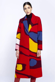IVKO Coat Intarsia Pattern Red