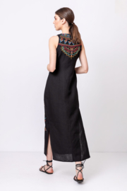 IVKO Woman - Linen Dress with Embroidery Black