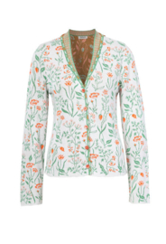 IVKO V-neck jacket Floral Pattern White