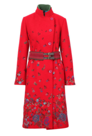 Boiled Wool Coat with Embroidery Red