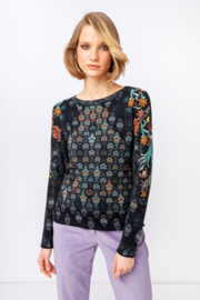 IVKO Woman - Printed Pullover Green Grasset Floral Pattern Anthracite