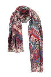 IVKO Woman - Printed Scarf Geometric  Pattern Off-White