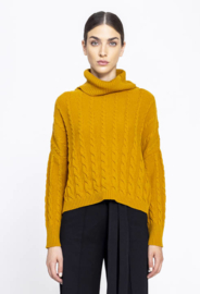 IVKO Roll-Neck Pullover Structure Pattern Golden Yellow