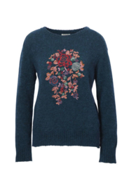 IVKO Woman - Embroidered Pullover Floral Motifs Petrol
