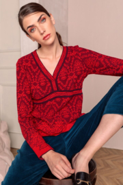 IVKO Woman - V-Neck Pullover Structure Pattern Red
