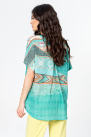 IVKO Woman - Blouse Geometric Print Aqua