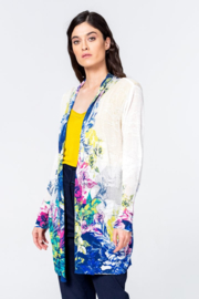 IVKO Woman - Long Cardigan Floral Print White