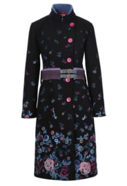 Boiled Wool Coat with Embroidery Black