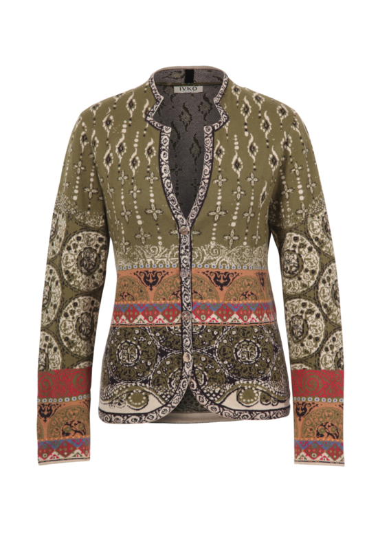 IVKO Woman - Jacket Jacquard Pattern Olive - Pre-Collectie 2020