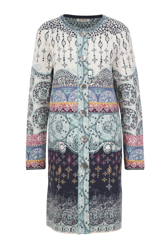 IVKO Woman - Straight Coat Jacquard Pattern Off-White - Pre-Collection 2020