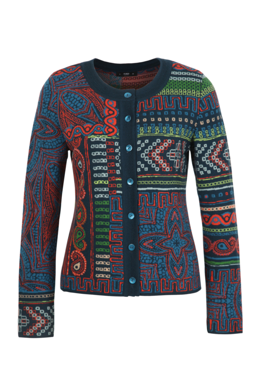 IVKO Woman - Cardigan Geometric Pattern Pacific