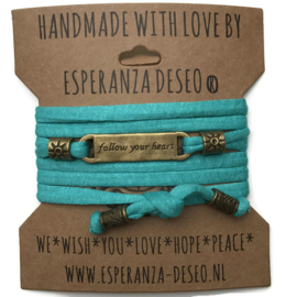 3 x Bronze color text bracelets - Turquoise green