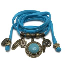 Lycra wikkelarmband - turquoise steen - turquoise