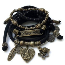 Set Buddha heart - Enjoy Life black and bronze