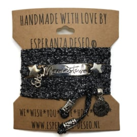 3 x silver color bar bracelets - sparkling black and silver