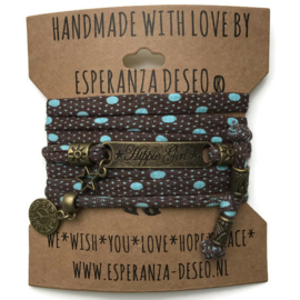 3 x Bronze color text bracelets - Brown with turquoise dots