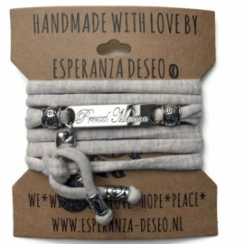 3 x Silver color bar bracelets - Sand gemeleerd