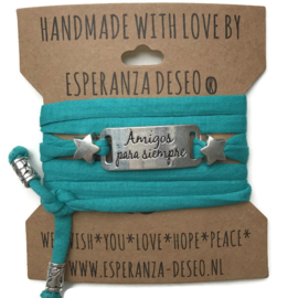 3 x Silver color text bracelets - Dark turquoise green jogging